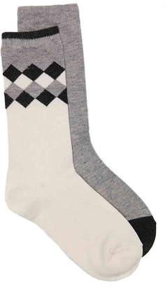 Via Spiga Cashmere Argyle Crew Socks - 2 Pack - Women's