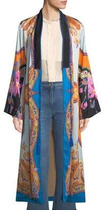 Etro Tie-Front Scarf-Print Long-Sleeve Long Kimono