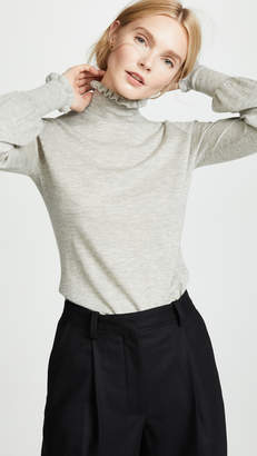 Autumn Cashmere Mock Neck Pullover with Ruffles
