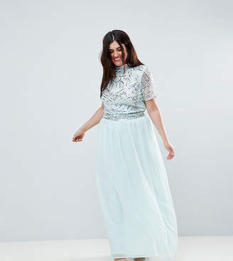 Asos Frock And Frill Plus Premium Embellished Top Maxi Dress