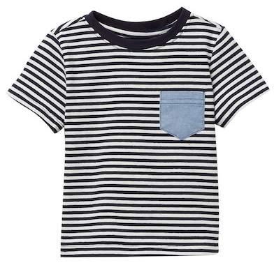 Navy Striped Chambray Pocket Tee (Baby Boys)