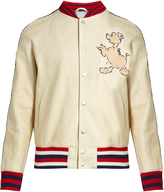 GUCCI Donald Duck©-embroidered leather bomber jacket $6,200 thestylecure.com