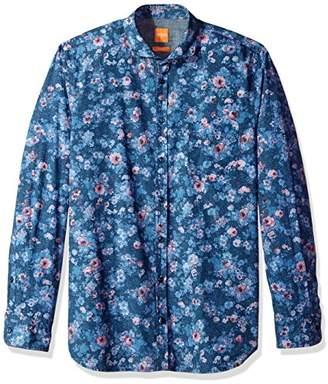 HUGO BOSS BOSS Orange Men's Cattitude Woven All Over Print Long Sleeve Shirt