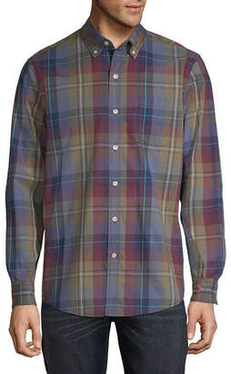 ST. JOHN'S BAY Mens Long Sleeve Checked Button-Front Shirt Slim