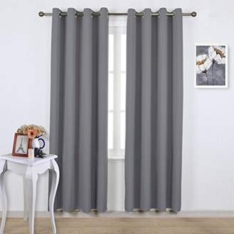 NICETOWN Bedroom Blackout Curtains Panels - Triple Weave Energy Saving Thermal Insulated Solid Grommet Blackout Draperies for Patio (One Pair