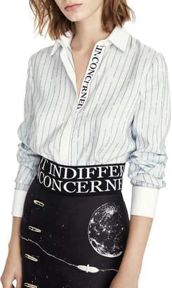 Schiaparelli Script Striped Silk Button-Front Blouse