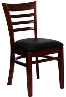 Generic Flash Furniture Ladder Back Chairs - Set of 2, Mahogany / Black Vinyl Seat