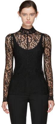 Givenchy Black Lace Mock Neck Blouse