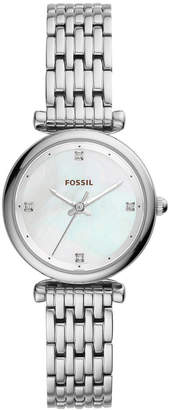 Fossil Women Carlie Stainless Steel Bracelet Watch 29mm