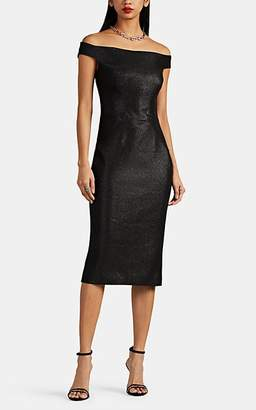 e8b9e99398a Zac Posen Women s Metallic Jacquard Off-The-Shoulder Midi-Dress - Dark Gray