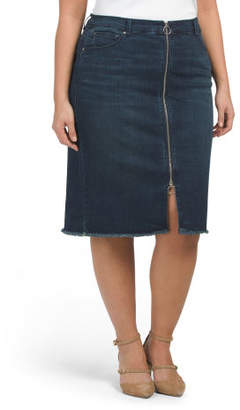 Plus Denim Pencil Skirt With Zipper