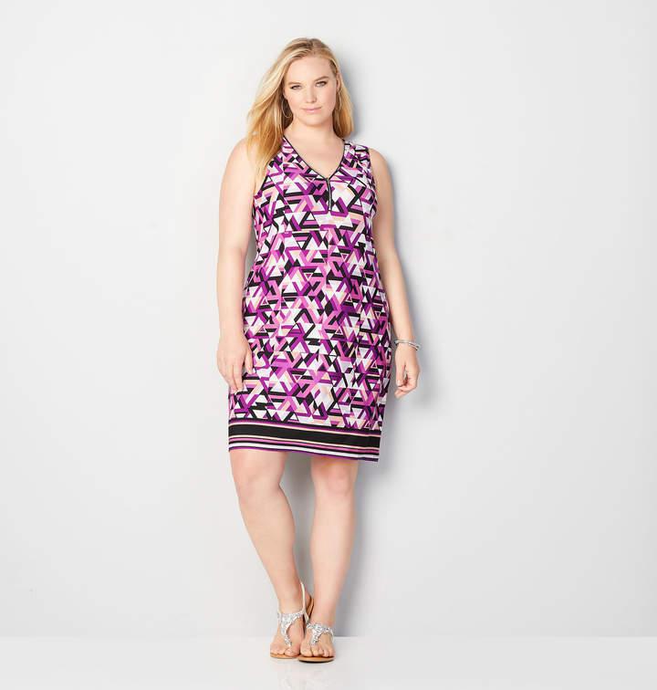 Geo Zip-Up A-Line Dress