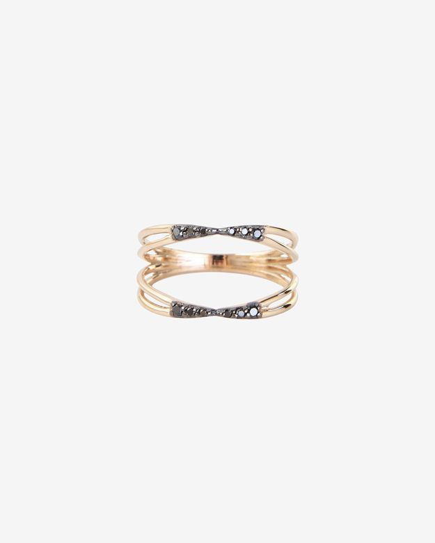Black Diamond Kismet by Milka Pave Double Wire Ring