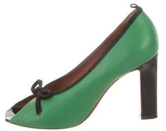 Celine Céline Leather Peep-Toe Pumps green Céline Leather Peep-Toe Pumps
