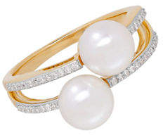 Tag Heuer FINE JEWELLERY 7MM Freshwater Pearl and 14K Gold Double Ring