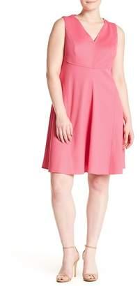 London Times Pique Fit & Flare Dress (Plus Size)