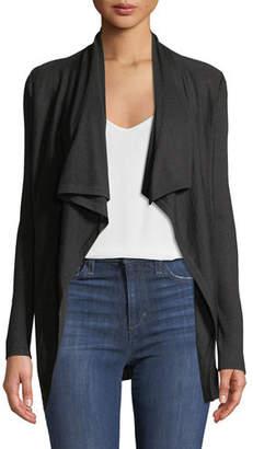 Neiman Marcus Superfine Cashmere Drape-Collar Cardigan