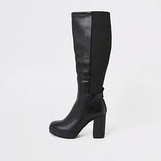 River Island Black platform heel stretch boots