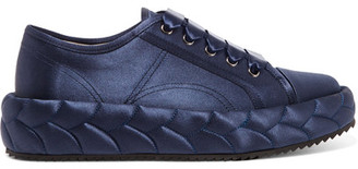 Marco De Vincenzo - Quilted Satin Sneakers - Navy $900 thestylecure.com