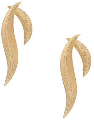 Daou 18kt yellow gold feather earrings