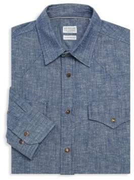 Brunello Cucinelli Chambray Snap Dress Shirt