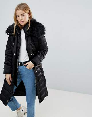 Miss Selfridge Faux Fur Collar Longline Padded Coat