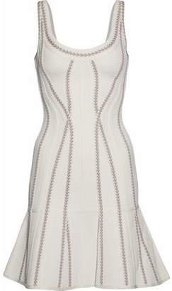 Herve Leger Fluted Stretch Knit-Paneled Bandage Mini Dress
