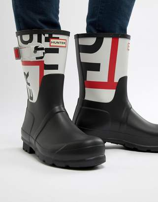 Hunter logo wellies in black