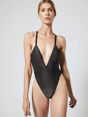 High Waisted One Piece With Metallic Elastic Trim