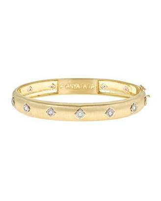 Farah Tanya Wide Modern Etruscan Diamond Bezel Bangle Bracelet