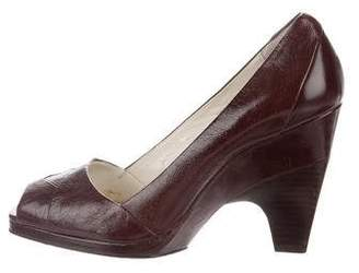 Calvin Klein Collection Leather Peep-Toe Pumps
