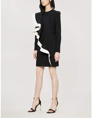 Givenchy Contrast-ruffle wool-crepe dress