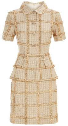 St. John Metallic Plaid Knit Dress