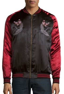 Crane Embroidered Satin Bomber Jacket $98 thestylecure.com