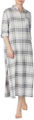Donna Karan Long Plaid Sleep Shirt