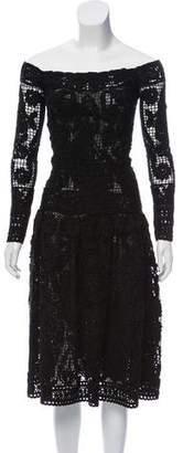 Salvatore Ferragamo Embroidered Wool Midi Dress w/ Tags