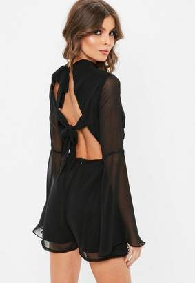 Missguided Black High Neck Tie Back Flare Romper