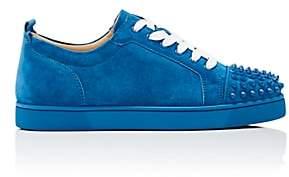 Christian Louboutin Men's Louis Junior Spikes Flat Suede Sneakers - Blue