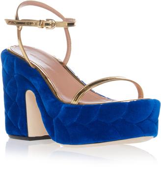 Marco de Vincenzo Braided Velvet Platform Sandal $775 thestylecure.com