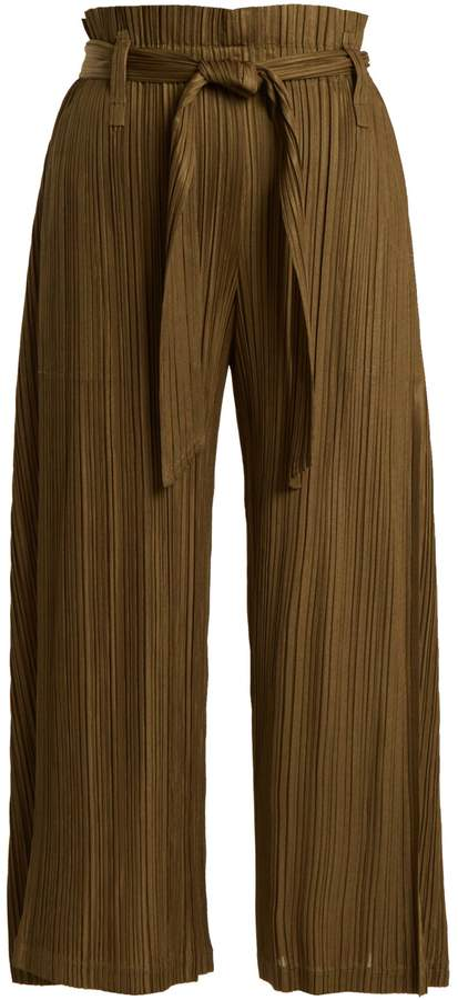 PLEATS PLEASE ISSEY MIYAKE Paperbag-waist pleated cropped trousers