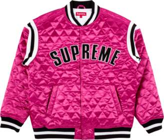 Supreme Quilted Satin Varsity Jacket - 'SS 2017' - Magenta