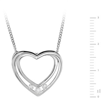 The Love Silver Collection STERLING SILVER CUBIC ZIRCONIA HAPPY BIRTHDAY HEART PENDANT AND GREETING CARD