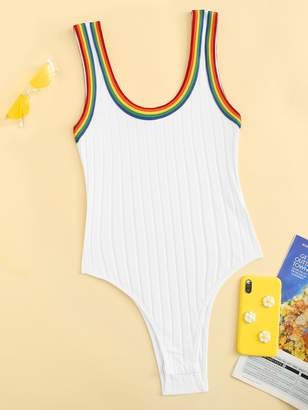 Shein Plus Rainbow Stripe Trim Ribbed Bodysuit