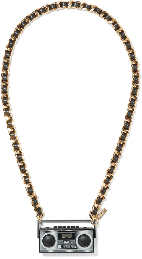 MoschinoMoschino Faux leather-trimmed gold-tone resin necklace