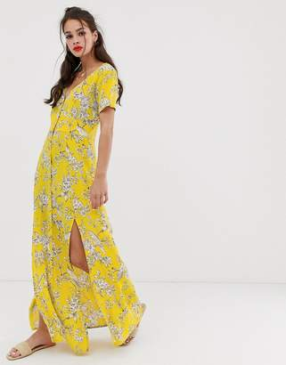 Miss Selfridge maxi dress with button through in yellow pattern