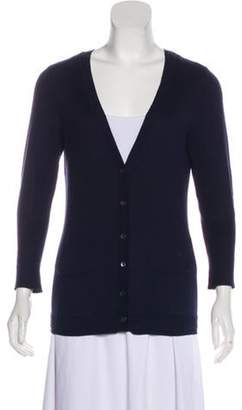 Magaschoni Knit V-neck Cardigan Navy Knit V-neck Cardigan