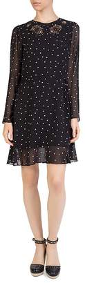 The Kooples Dame de Coeur Micro-Heart Printed Lace-inset Dress