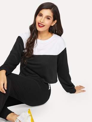 1b8487e05c2 Shein Drop Shoulder Sweatshirt   Drawstring Waist Sweatpants