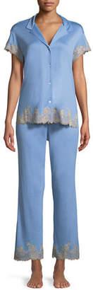Josie Natori Charlize Lace-Trim Pajama Set