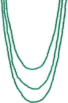 """Jai JAI Sterling Silver 72"""" Green Agate Bead Necklace"""
